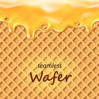 Seamless wafer and dripping orange cream or jam  vector