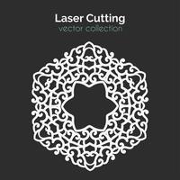 Laser Cutting Template. Round Card. Die Cut Mangala vector