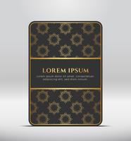 Olhar premium elegante. Forma de cartão cinza escuro com padrão de ouro. Ilustração vetorial