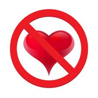 Ban love heart. Symbol of forbidden and stop love