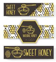 Vector organic honey banners. Bio hand drawn set.