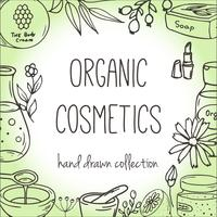 Background with cosmetic bottles. Organic cosmetics illustration.