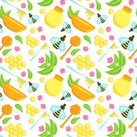 Seamless pattern with honey illustration set. Bee vector design. Natural organic elements. Cartoon honeycomb. Flat argiculture collection. Spoon with mead.