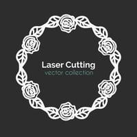 Laser Cutting Template. Round Card with Roses. vector