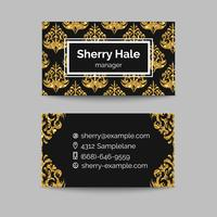 Gold business card template or gift cards. Vintage golden pattern.