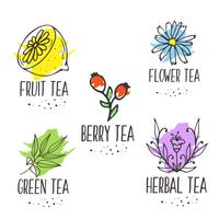 Herbal tea logo elements collection. Organic herbs and wild flowers.
