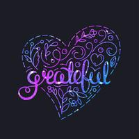 Grateful Poster with Lettering and Space Texture. Glowing Stars Effect.