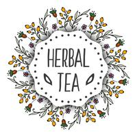 Herbal tea tags background. Round frame with herbs
