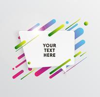Fond de vecteur avec carte de papier et formes colorées abstraites. Papier peint de lignes et de cercles à la mode au néon dans un style moderne.