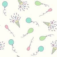 Verjaardagsfeest naadloze patroon met ballonnen en confetti. Hand getrokken viering decoraties achtergrond