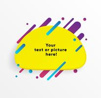 Forma di casella di testo astratto giallo con linee al neon alla moda e cerchi