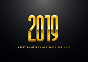 2019 Holiday Vector greeting illustration with golden numbers.