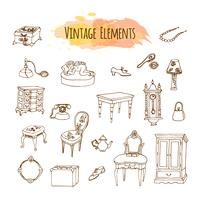 Hand drawn vintage elements. Antique furniture illustration