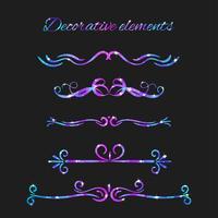 Vector Flourishes. Dividers Set. Handdragen dekorativa virvlar