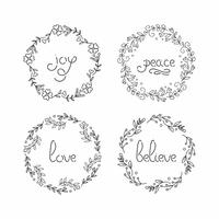 Floral wreath set. Line lettering. Greeting typography.