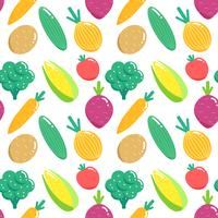 Seamless pattern with vegetables. Flat veggies vector illustration.