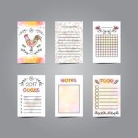 Printable Journaling Cards with Rooster Illustration. Line Style