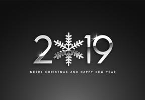 2019 Holiday Vector hälsning illustration med silver nummer.