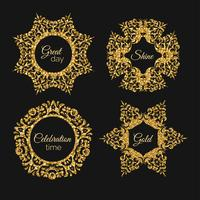 Vector golden glitter frame. Vintage gold frames illustration.