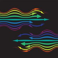 Colorful arrows on black background, vector illustration