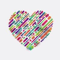 Färgglatt hjärta med realistiska vita bollar, vektor illustration