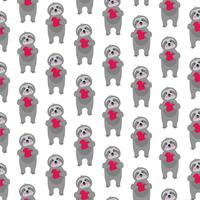 sloth pattern with red hearts