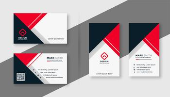 modern red geometric business card template