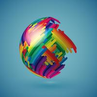 Colorful realistic globe with shaded surface, vector illustration