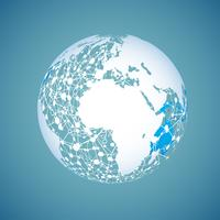 World globe on a blue background, vector illustration