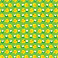 Easter chick pattern with tulips on green background