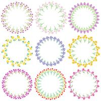 spring flowers circle frames vector
