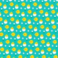 baby chick and hatching egg pattern on blue pattern