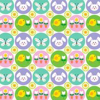 Easter pattern with bunnies butterflies and chicks