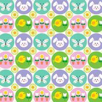 Påskmönster med kaniner fjärilar och kycklingar