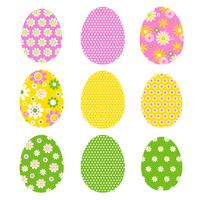 Easter eggs with mod retro  patterns and polka dots