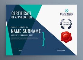 moderno certificado de plantilla de reconocimiento