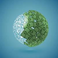 Green globe made of money, vector illustration