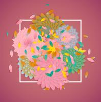 Colorful flowers with white border and leaves, vector illustration