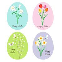 flowers on Easter eggs vector