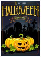 halloween inbjudningskort vektor design