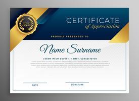 elegant blått och guld certifikat mall design