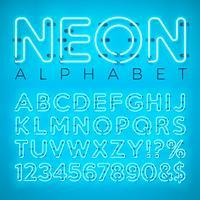 Alfabeto de néon brilhante