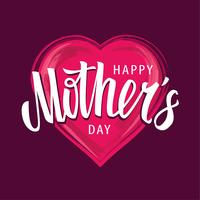 Happy Mother's Day Vector Lettering  on Heart Shape