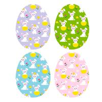 easter eggs with cute bunnies and chicks vector