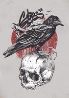 Cuervo en el cráneo