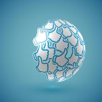 Blue realistic shaded 'thumbs up' globe with connections, vector illustration