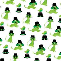 Saint Patrick's Day cats dogs birds pattern