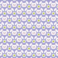 Easter bunny faces pattern on purple