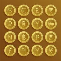 set of dolden currency icons and symbols