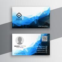 diseño de tarjeta de visita geométrica abstracta azul